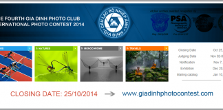 Cuộc thi ảnh Gia Định - THE FOURTH GIA DINH PHOTO CLUB INTERNATIONAL PHOTO CONTEST 2014