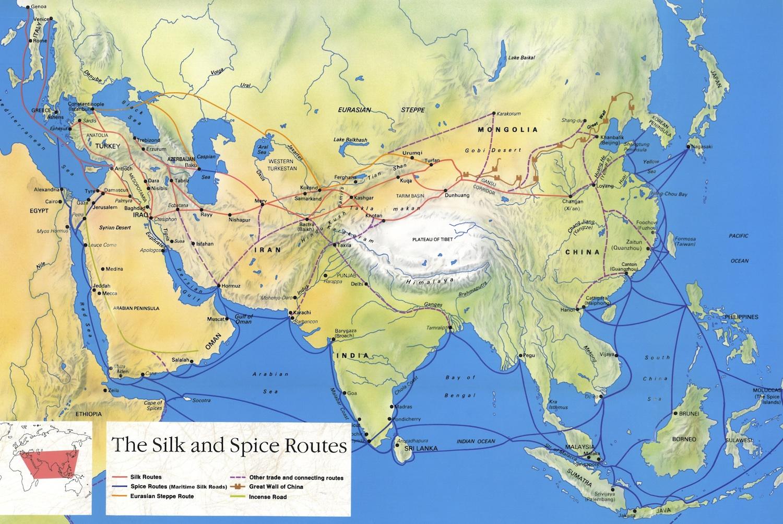 Bản đồ Con Đường Tơ Lụa - Silk Road Map
